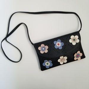 Black Vegan Leather 3D Floral Detail Cross Body